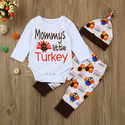 UK Newborn Infant Baby Girls Boys Romper Tops+Pants+Hat Thanksgiving Outfits Set
