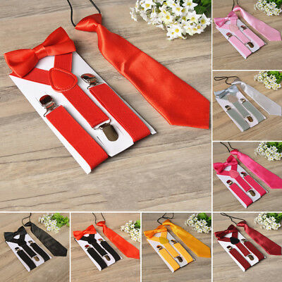 3Pcs Kids New Design Suspenders And Necktie Bow Tie Set Matching Ties Outfit New