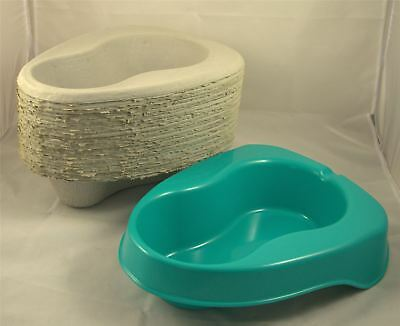 25 Disposable Pulp Cardboard 2L Bed Pan Liners with Plastic Support