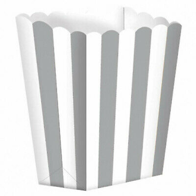 5 Small Silver White Striped Party Candy Favour Popcorn Sweet Treat Boxes