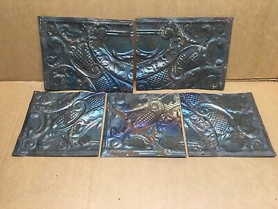"5pc Craft Lot 6"" by 6""+ Antique Ceiling Tin Metal Reclaimed Salvage Art"