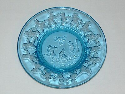 Vintage Antique Blue Depression Glass Childs Plate Hey Diddle Diddle