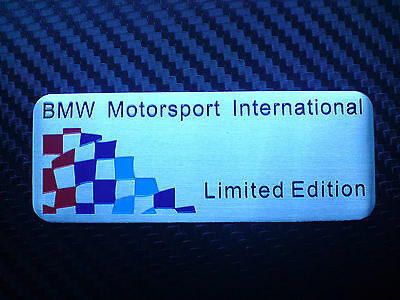 BMW Motorsport International   Plakette Alu Emblem Aufkleber (M3 M5 E30 E36 E46)