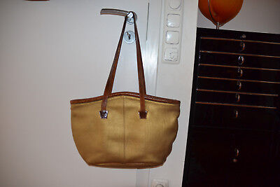 41f71186bde80 VINTAGE ORIGINAL FURLA Ledertasche Tasche Shopper gold braun TOP ...