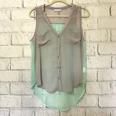 d9ad7b0e21d Lush Womens Size S Small Button Down Shirt Gray and Green Sleeveless Sheer  Top
