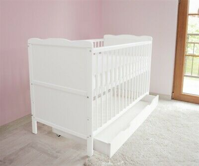 New White Wodden Baby Cot Bed  / mattress / teething rails / drawer - RRP £179