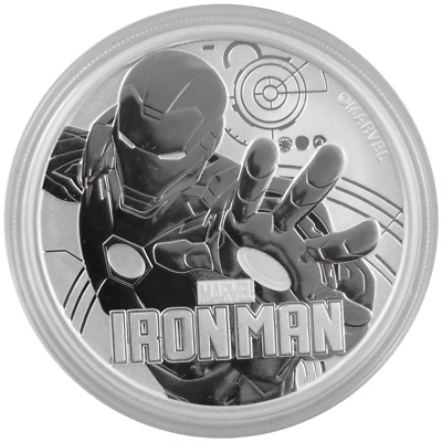 2018 $1 Silver Tuvalu Marvel Series Iron Man 1 oz BU in Cap