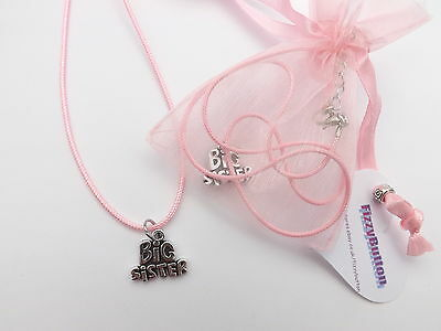 Girls Big Sister charm necklace, pink birthday present, sister of new baby gift