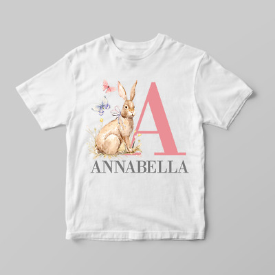 Personalised Name & Initial Easter Bunny Rabbit Children's Kids T Shirts T-Shirt