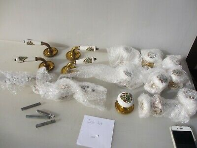 Ceramic Door Knobs Handles Lever Brass Plates Old Late Vintage Retro job lot