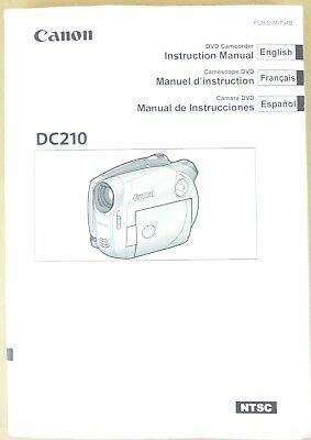 canon dvd camcorder dc210 instruction manual