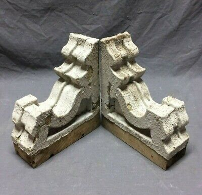 Pair Antique Roof Corbels Shelf Brackets Shabby Vintage Chic 292-19C