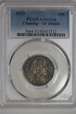 1913 Silver Barber Quarter Genuine XF Details PCGS United States Mint 25c Coin
