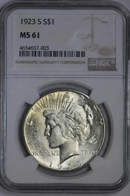 1923 S Silver Peace Dollar MS61 NGC US Mint $1 Coin
