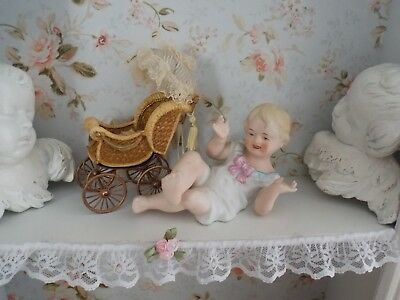 Antique Vintage French Victorian Porcelain Small Baby Boy Figurine Statue