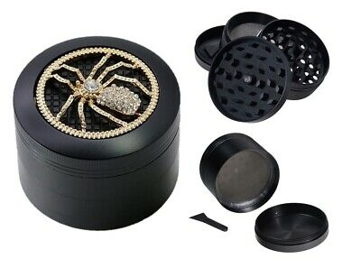Mirage Black Spider 4-Layer Metal Herb Spice Grinder with Sifter Magnetic Top