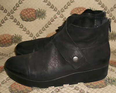 bdf0bede5e5 Eileen Fisher Tread Tumbled Black Nubuck Suede Snap-Wrap Wedge Bootie 7.5M   250