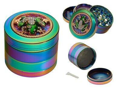 Mirage Rainbow Frog 4-Layer Metal Herb Spice Grinder with Sifter Magnetic Top