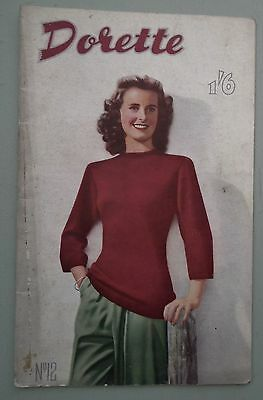 VINTAGE 1940s DORETTE No 12 KNITTING BOOK original patterns sewing Chinese dolls