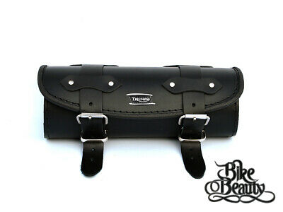 Triumph Rocket Daytona Bonneville Thunderbird Thruxt Black Leather Tool Roll Bag