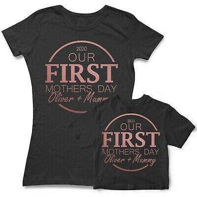 Our First Mothers Day *Your Babies Name* Custom Matching Personalised T Shirt