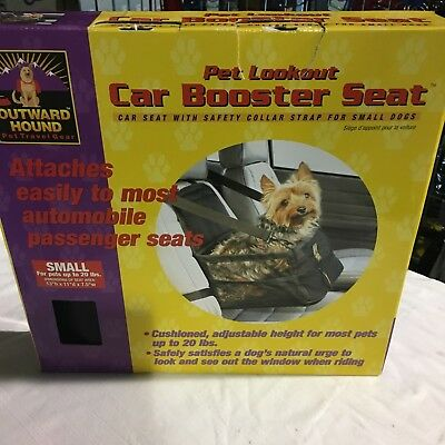 Outward Hound Black Dog Car Booster Seat With Safety Collar Strap For Small Dogs