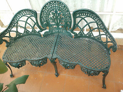 Vintage Beautiful Ornate Outdoor Cast Iron Garden Bench Love Seat Chair Heavy