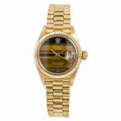 Rolex President Datejust 6917 Womens Automatic Watch Tiger Eye Dial 18K YG 26mm