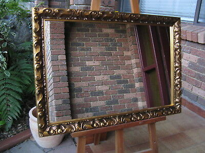 Decorative Wall Mirror Carved Ornate Look Aged Gold Wood Frame 86cm x 60cm