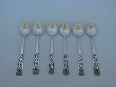 Set of 6 Vintage Korea Sterling Silver & Enamel Demitasse Spoons