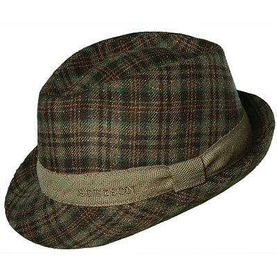 e3a88ada2d1b4 Stetson   Mens Plaid Fedora Hat L   New Trilby Lite Winter Dress Golf Sun  Shady