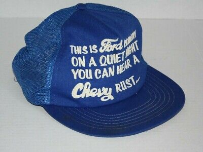 2123d2bc878be Vintage FORD COUNTRY TRUCKS TRUCKER HAT HEAR A CHEVY RUST QUIET NIGHT USA  Made