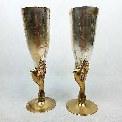 "Vintage Godinger Wine Goblets Brass Bird India Heavy Silver Plated 8"" Tall"