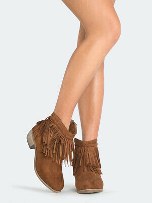 e8ce95d42 FERRINI WOMEN S FRINGE Bootie Ankle Boot Leather Cowboy Cowgirl ...
