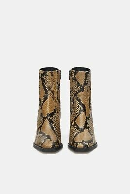 736eed313eb ZARA WOMEN ANIMAL Print Snake Leather High Heel Ankle Boots Size 6.5 EUR 37  NWT