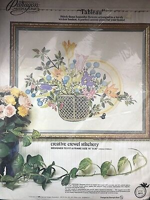 "Tableau Paragon Crewel Stitchery Kit Flowers 16"" X 20"" Lilies Basket"