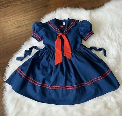 77ce866f34e2 Jayne Copeland Vintage Girls Dress Sailor Nautical Blue Red Missing Tag 4 5  23""