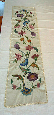 Vintage Antique Jacobean Crewel Embroidery Long Table Runner Nubby Linen Rare