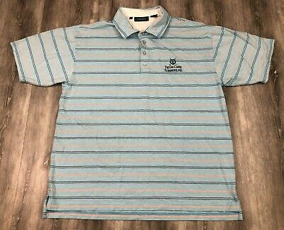 BOBBY JONES The Old Course St Andrews Links Striped Golf Rugby Polo Shirt L