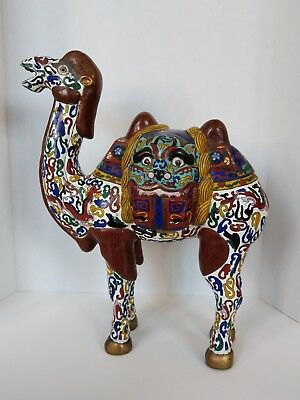 "Chinese Cloisonne Enamel Camel Figure 18"" Tall Heavy Zoomorphic Mask Dragon READ"