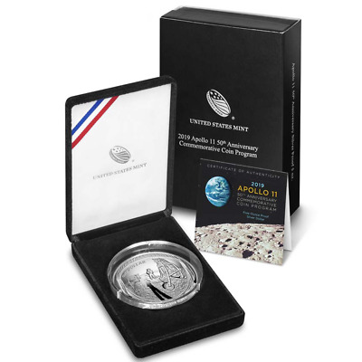 2019-P Proof $1 Apollo 11 50th Anniversary 5oz. Silver Dollar Box, OGP & COA