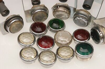 """Lot Of 1"""" Vintage Panel Lights/lenses F/ancient Electronics, Green, Red & Clear"""