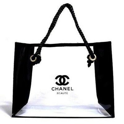 9be3d85bf675e8 Chanel Beaute Transparent Vinyl Clear Toiletry Cosmetic Tote Beach Bag 10