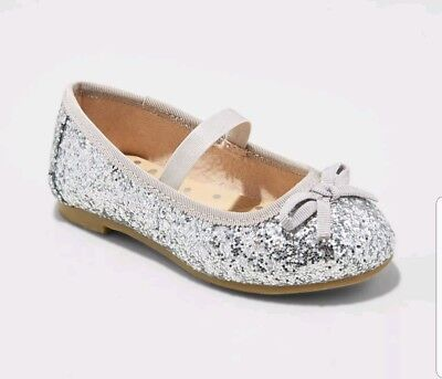 0233bcaf9ce NWT Cat   Jack 6 toddler girls silver glitter Mary Jane bow flats shoes  Cacey