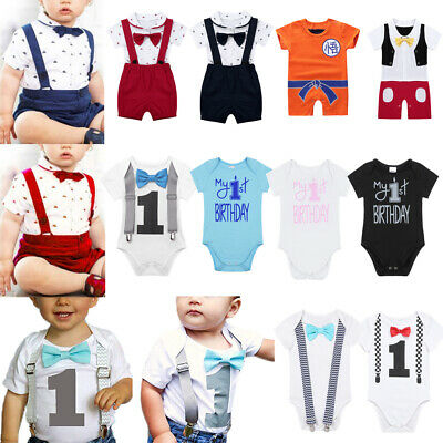 Infant Baby Boys Girls First Birthday Romper Cake Smash Jumpsuit Outfit Clothes