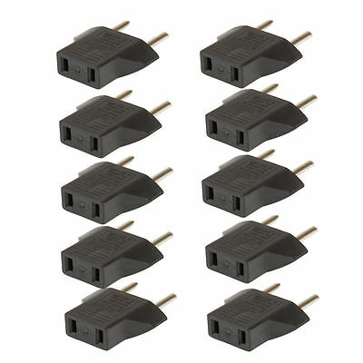 10PCS US USA to EU Euro Europe AC Power Plug Converter Travel Adapter Charger Ws