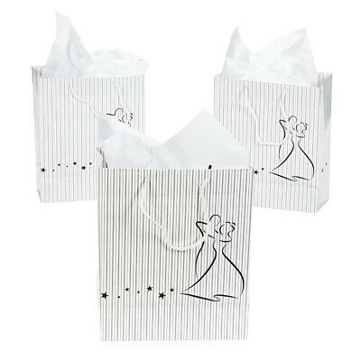 Wedding Party Gift Bags With Handles Thank You Present Favours White Paper