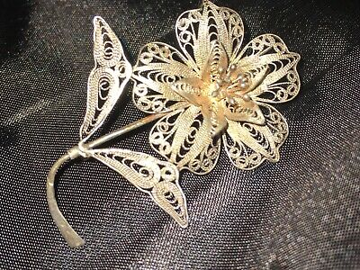 Gorgeous Antique Mid 19th Century 900 Silver Cannetille Filigree Flower Brooch