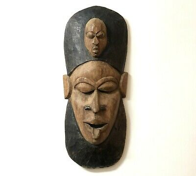Tribal African Mask Hand Carved & Painted Art Wood/Wooden Africain Hanging Wall
