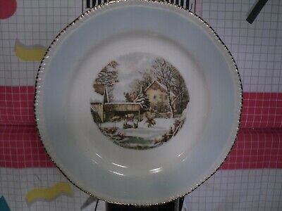 """Homer Laughlin """"The Farmer's Home In Winter"""" Decorative Currier & Ives Plate"""